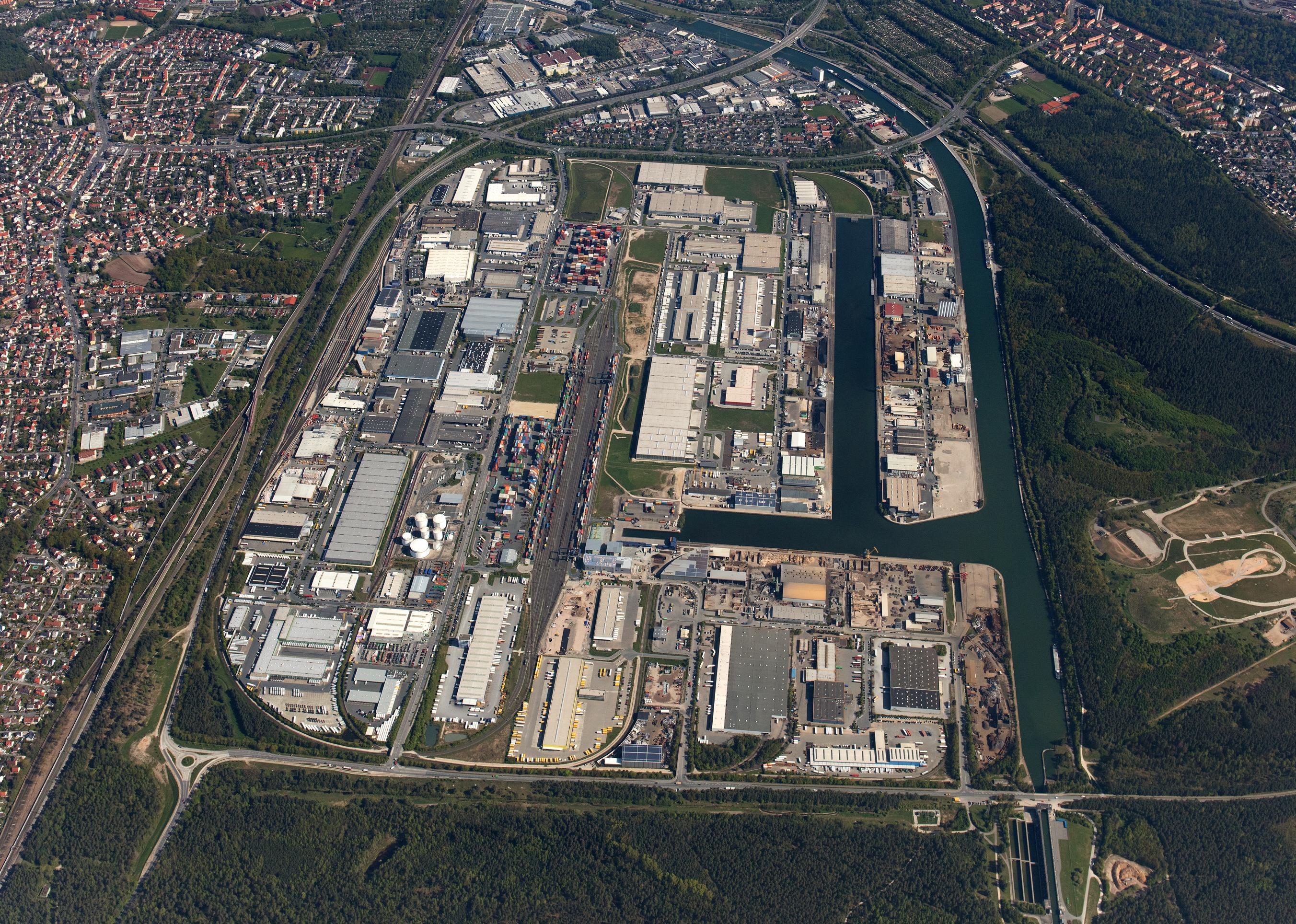 Luftbild bayernhafen Nürnberg
